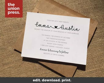 Wedding Invitation Templates | Modern Printable Wedding Invitation Template