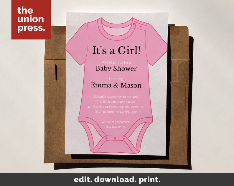 Baby Shower Invitation Template Printable Invitation It S A Girl Onesie Instant Download Diy Invitation Customize All Colors 5x7
