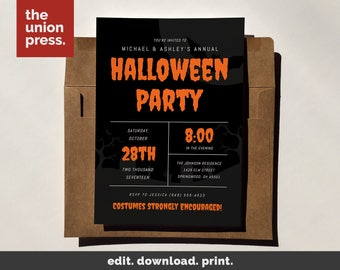 Halloween Party Invitation Printable Template, Costume Party Printable Invitation, Instant Download, DIY Halloween Invite