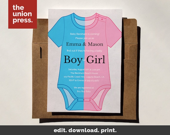 Baby Shower Invitation Template Printable Invitation Onesie Gender Reveal Instant Download Diy Invitation Customize All Colors 5x7