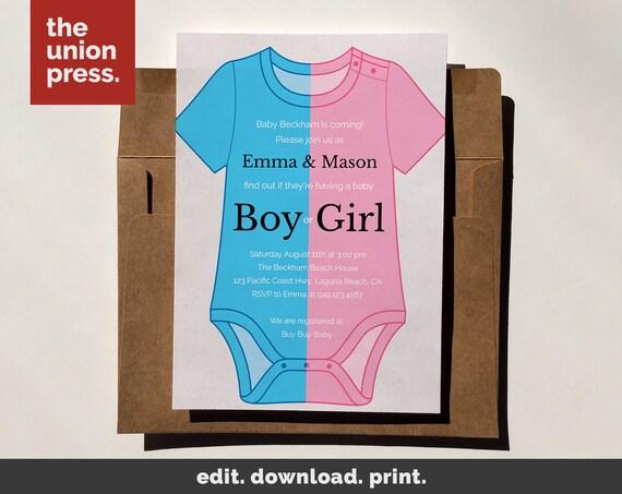 baby shower invitation template printable invitation onesie etsy