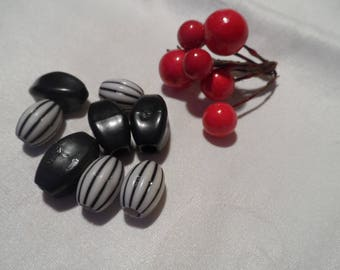 set of 8 large oval beads shapes and different colors black and black and white