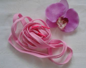 Pink lace flat fuchsia hot pink polyester plastic tip plastic long 1.30 m