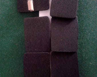 set of 6 small clothespin slate black rectangle wood