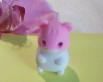 Eraser IWAKO puzzle shape hamster, pink and white collection children