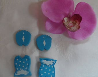 set of 4 embellishments 2 feet 2 Bras wooden blue baby boy baptism