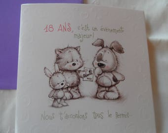"""18 birthday card, envelope collection""toodoos""inscription"" happy birthday and words"