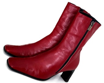 C CYPRES DYVA ankle boots Eu 38,5 Uk 5,5 US 8 Red genuine leather womens boots Both Side zipper Ankle boots Ankle booties Red heel boots