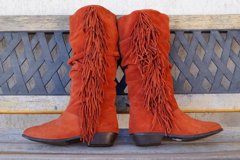 0ee0dc23754 Vintage boots Eu 39 UK 6 US 85 Faded Red slouchy real suede | Etsy