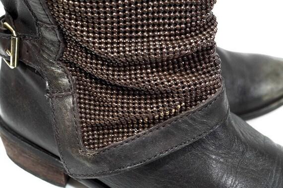 Knöchel Stiefeletten Stiefel Eu 41 US 10,5 UK 8 Größe braun echtes Leder Damen Glitter Effekte Biker, Moto, Hipster, Rocker Stiefel, die niedrigen