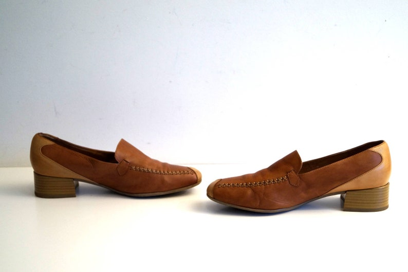 BELLISSIMO shoes Womens loafers Eu 39 UK 6 US 8.5 Brown and beige real leather casual low heel shoes Slip on leather Flats Made in Italy