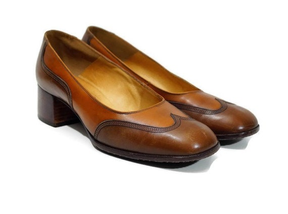 f5a611c4983de BALLY SUISSE shoes Eu 40 size, Uk 7 Us 9,5 Vintage shoes Real Leather Shoes  Brown shoe Slip on shoes Chunky heel shoes Made In Switzerland