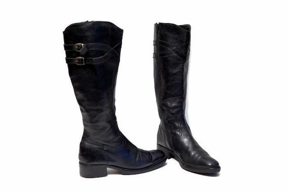 Knie Chunky StiefelDie Reiten 8 Schwarz Stiefel Damen Uk Hoch Us Größe Europäischen 5 6 Vintage 39 Ferse Leder Eur Midi Lange fgvb6YyI7m