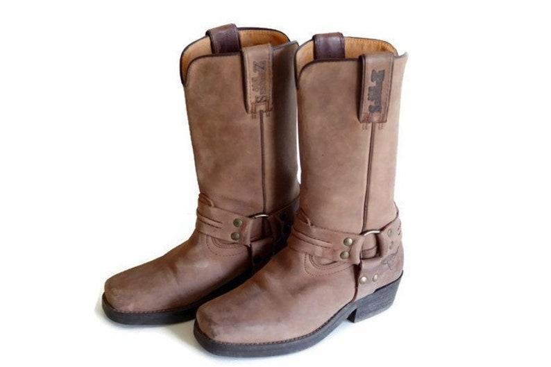 eeea42c0d97 Vintage boots Authentic Unisex boots JOE SANCHEZ harness western biker  boots, brown, size Eu 36,5 Uk 3,5 US 6 Very thick real leather