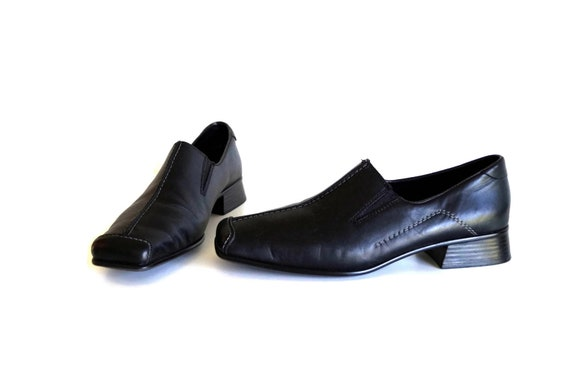 RIEKER ANTISTRESS Flat Comfort shoes Size Eu 41 Uk 9 US 11 Black genuine leather womens loafers Heeled loafers Casual Leather Slip On Shoes