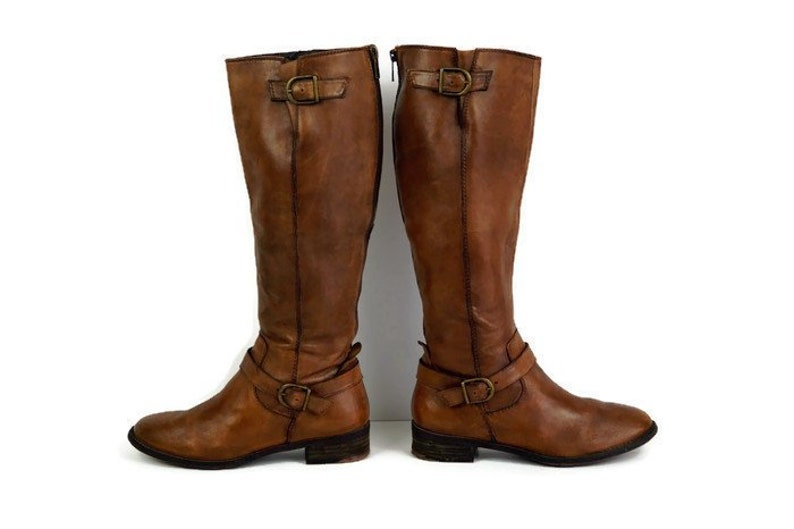 c2f18cab4d566 Brown boots Eu 37 UK 4 US 6,5 Real leather womens boots by SPM, Tall boots  Knee high riding boots Low heel casual boots Casual Classic boots