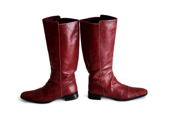 Rote Stiefel Eu 41,5 UK 9 US 11 braun Echtleder Damen Stiefel hoch Stiefel Knie hoch reiten niedrigem Absatz lässigen Stiefeln Stiefel, die klassische