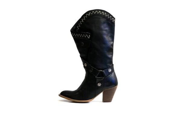 BRONX Leder Stiefel Eu 38 75 UK 5 US 75 38 EmbroideROT Stiefel real   Etsy 1750ff