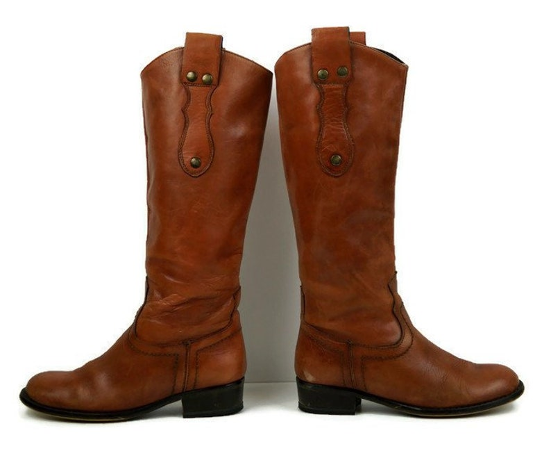 4d8c3595b76fe Honey Riding boots Eu 37 UK 4 US 6,5 Camel brown real leather womens boots  Knee High Biker Boots Low heel casual boots Riveted Cowboy boots