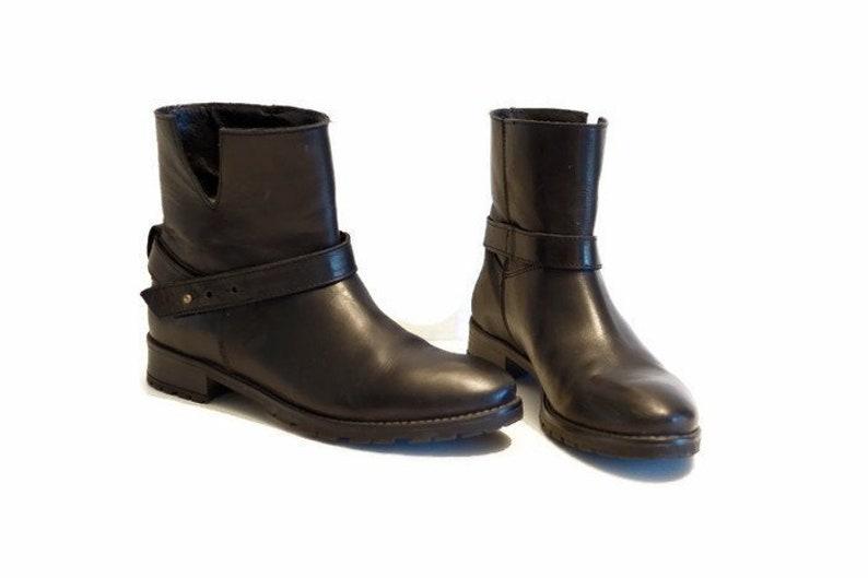 Stiefeletten US 6,5 UK 4 EU 37 Größe schwarz echtes Leder Damen Stiefeletten, die Biker Moto Stiefel Hipster Rocker Stiefel Stiefel, Chunky niedrigem