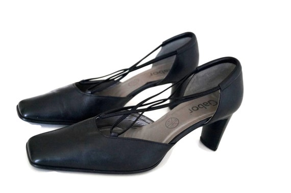GABOR shoes Womens Leather shoes Genuine leather shoes Eur Size 40, UK 7, US 9 12 Black medium high heels Shoes Womens Leather pumps