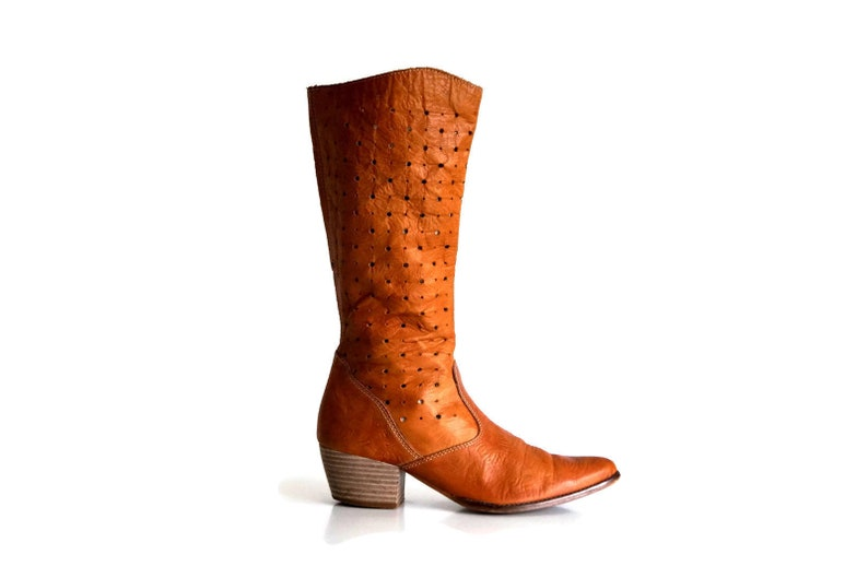 TAMARIS summer boots Eu 36 UK 3 US 5,5 Cowboy style boots women western Cognac brown Country style Boho Chic Cowgirl genuine leather Boots