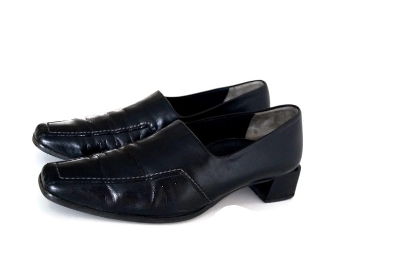 ec46c70ef82ae PAUL GREEN shoes Eu37,5 Uk 4,5 US 7 Black genuine leather womens slip on  shoes Mid Heel leather loafers Handmade leather shoes Leather flats