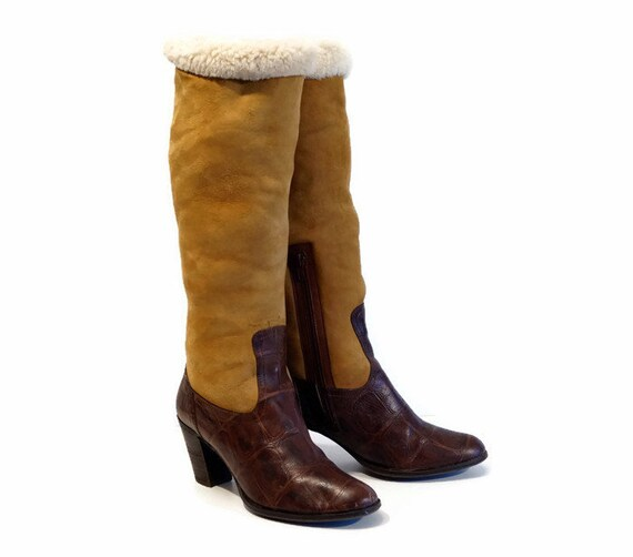 shop best sellers vast selection low price Womens winter boots Eu 38,5 Uk 5,5 Us 8 size FLORIS VAN BOMMEL designers  boots Real brown leather and camel brown suede leather warm lining
