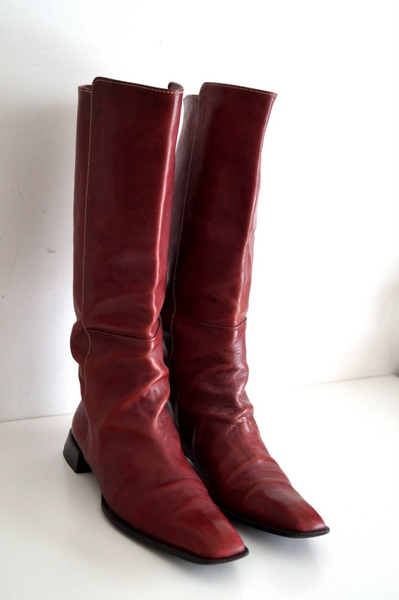 Stiefeln 9 Hoch Lässigen Klassische Absatz Uk Echtleder Knie Reiten Eu Rote Stiefel Damen Niedrigem StiefelDie 41 5 Us 11 Braun 8Nyvmn0wO