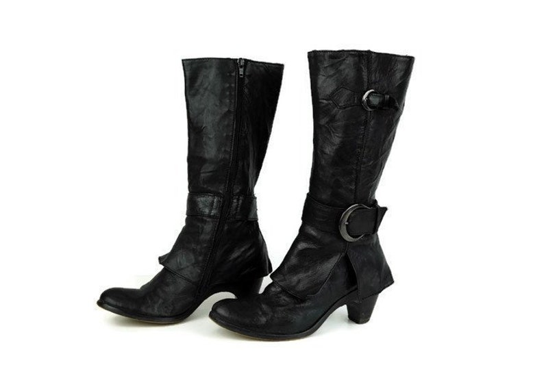 5ef7d925b4109 Vintage tall boots SOLIDEA boots Eu 37 UK 4 US 6,5 Real black leather  womens cowboy boots Side bukled knee hight boots Tall leather boots