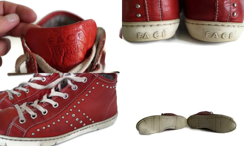 FACE REBEL sneakers Eu 38 Uk 5 Us 7,5 size womens mens footwear red and white genuine leather lace shoes Red riveted leather tie sneakers