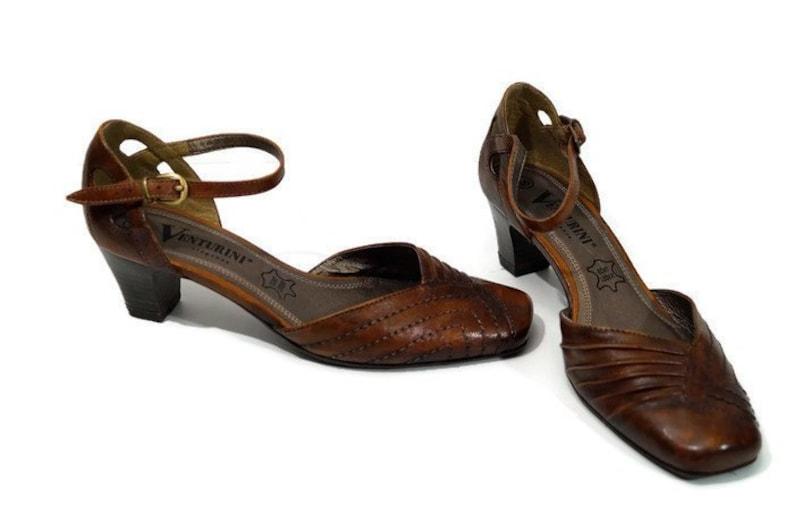 separation shoes d842e d9df9 VENTURINI Eleganza Schuhe Eu 36 / US 5.5 / UK 3 Damen Leder Braun echtes  Lederschuhe über Riemen Made in Germany braun Leder Heels