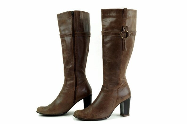 1002642a819b7 Brown boots EU 37UK 4 US 6,5 Tall womens boots Genuine leather boots Heeled  knee hight boots Chunky heel boots Round toe long boots