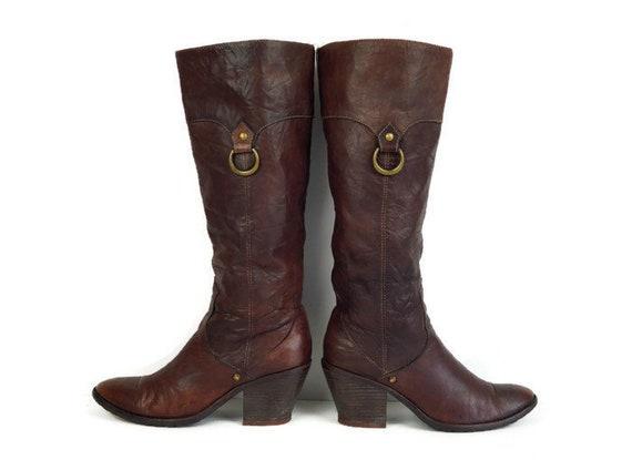 Frauen Cowboy Stiefel. EU 36,5 Uk 3,5 uns 6 braun Echtleder Damen Stiefel mit Heels. Knie Lederstiefel Höhe. Hohe Stiefel. Lange Stiefel
