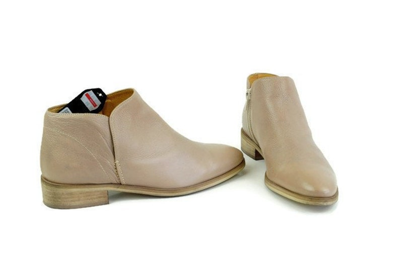 5e904a14ed8aa Beige Ankle Boots Size Eu 37 UK 4 US 6,5 Genuine leather boots Low Heel  classic womens ankle boots Brown leather boots, All season booties
