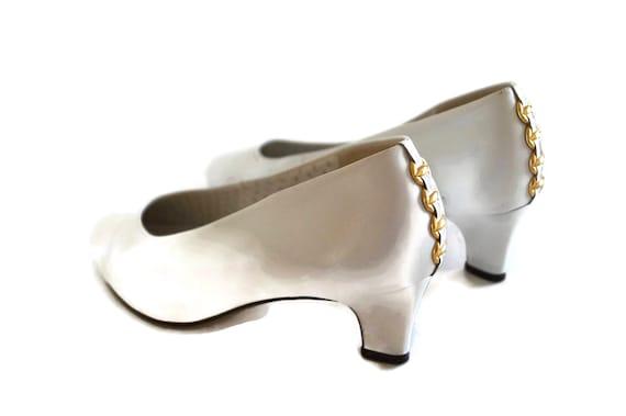 GABY von GABOR weiß Schuhe UK 4 Hochzeit Party Schuhe weiß echt Leder weiß Lederpumps Golddekor Schuhe Made in Österreich