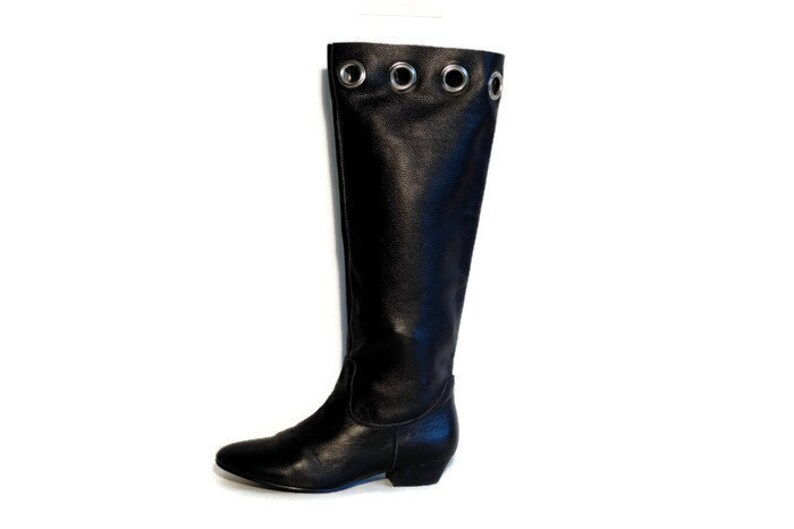 d207da05c547f Size Eu 37 Uk 4 US 6,5 Women's Vintage BJÖRN BORG boots Black Thick Sturdy  Real Leather Long Boots Knee hight riding boots Tall boots