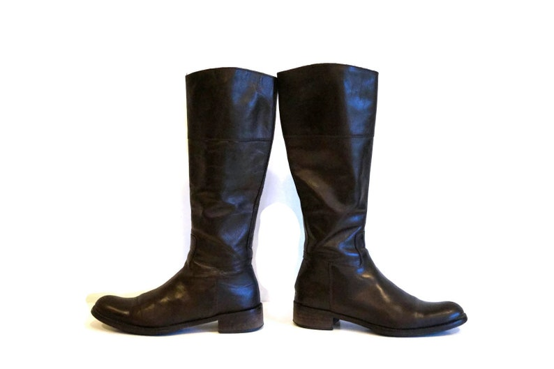73cacffac9b1c GALLERY boots Eu 37 UK 4 US 6,5 Brown genuine leather womens boots Tall  boots Knee high riding boots Low heel casual boots Classic boots