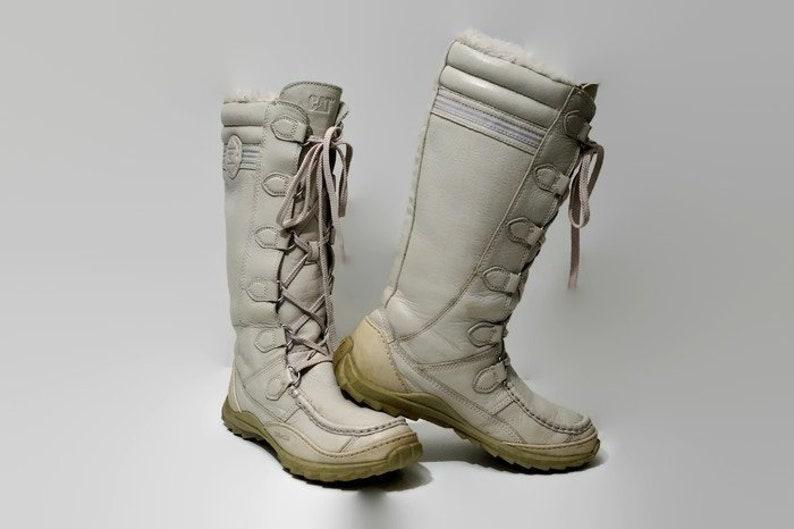 d7ff109704f8ab U.S. 55 UK 3 Eu 36 Warm Winter weiß Leder Stiefel CATERPILLAR