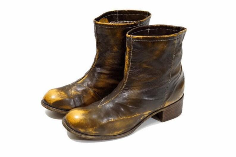 König TARTUFOLI Stiefel Eu 38 Uk 5 US 7,5 Größe Babyschuhe braun marmorierten Echtleder Stiefel italienischen Designer Stiefel, die Höhe Qualität