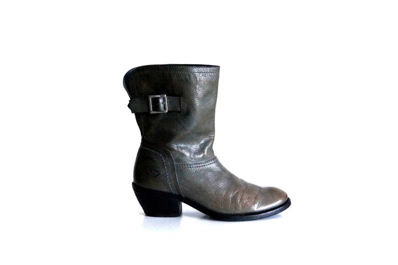 b75e35fde4c43 ESPRIT boots Eu 37 UK 4 US 6,5 Gray genuine leather bukled womens boots  Chunky heel Boho bohemian boots Festival footwear Fashion booties