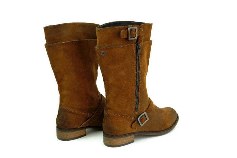 b2596be90bf8a Vintage boots, EU 40 Uk 7 US 9,5 Real suede leather boots, Brown womens  boots, Side bukles, zippered boots, low heel boots, mid calf boots