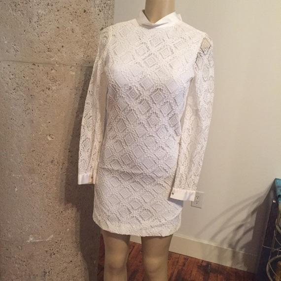 Vintage Boho Handmade White Lace Wedding Dress, bo