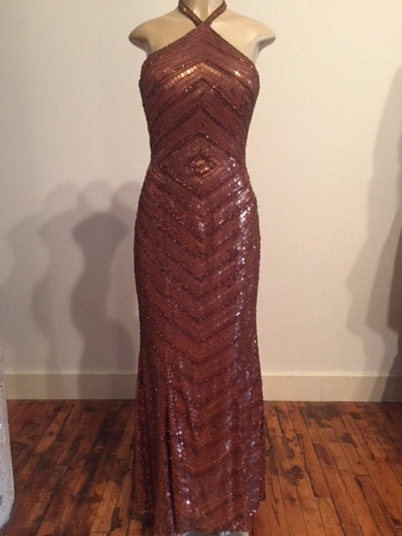 SALE Handmade Bronze Sequin Formal Gown, bronze go