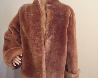 Vintage Faux Fur Coat, medium, Titche-Goettinger, faux fur coat, vintage coat, brown coat, vintage glam, vintage fur coat