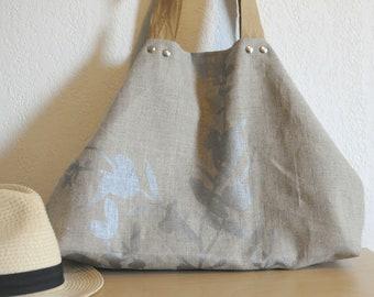 2 in 1 - linen - handles 100% vegan bag / vegan