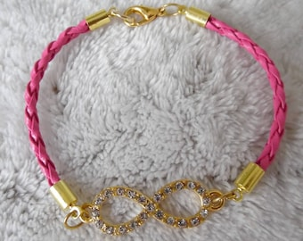 lovely fuschia infinity sign bracelet