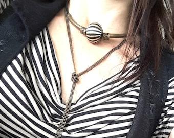 Collier tour de cou cuir métal bronze grosse perle textile rayée chic ethnique LIBRA