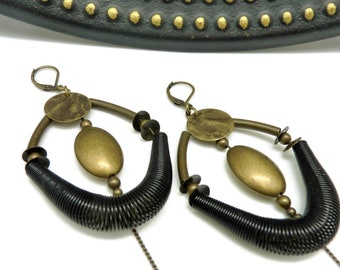 Black and bronze Creole earrings, metal and metallic resin, graphic, chic WAZZ option Best seller clips