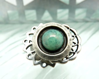 Small silver metal chiseled ring and green turquoise water glass adjustable MIMI